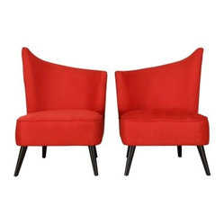 Armen Living Elegant Accent Chair with Flaired Back - Red Microfiber