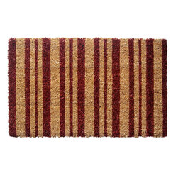 Entryways - Burgundy Stripes Extra-Thick Handwoven Coconut Fiber Doormat - Designed by an artist, this distinctive mat is a work of art that will add a welcoming touch to any home. It is from Entryways' handmade collection and meets the industry's highest standards. This decorative mat is handsomely hand woven and hand stenciled.