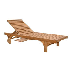 "Anderson Teak - Capri Adjusted Back Sun Lounger w Side Tray - Set of 4 - Set of 4. Backrest adjusts to 4 different positions, including completely flat. Comes with a handy side tray which can be slide in-out from both side of the lounger or tucked away when not in use. Solid Teak wheels for maneuverability. Perfect for poolside reading in the sun. Teak wood construction. 78 in. L x 27 in. W x 13 in. H (70 lbs.)This classic sun lounger is made from Teak wood which is very durable and excellent for outdoor furniture. Our most popular piece, the Sun Lounger has been called by some, ""The most comfortable Sun Lounger they have ever relaxed in. "" With its solid Teak wheels, it can be easily moved in or out of the sun."
