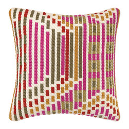 """Trina Turk - Trina Turk Madera Persimmon Bargello Pillow - Eclectic in style, the Trina Turk Madera bargello pillow exudes globally-inspired glamour. The decorative accessory's colorful hues form an abstract mosaic pattern for a modern look. Persimmon pink, orange, green and red; 20""""W x 20""""H; 100% linen; Dry clean only; Down pillow insert included"""