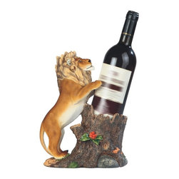 GSC - 10.25 Inch Curious Lion and Tree Stump Wine Holder - This gorgeous 10.25 Inch Curious Lion and Tree Stump Wine Holder has the finest details and highest quality you will find anywhere! 10.25 Inch Curious Lion and Tree Stump Wine Holder is truly remarkable.