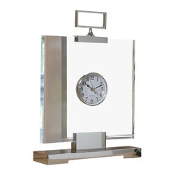 Global Views - Block Clock - This bold and impressive acrylic slab clock has artistic presence as well as function. Nickel Plated Solid Brass.