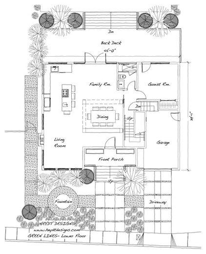 Traditional Floor Plan Green Lines