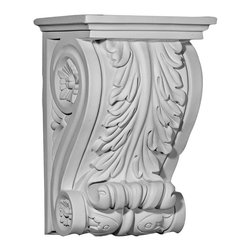 "Ekena Millwork - 7 7/8""W x 6 1/8""D x 11 3/4""H Nexus Corbel - 7 7/8""W x 6 1/8""D x 11 3/4""H Nexus Corbel. These corbels are truly unique in design and function. Primarily used in decorative applications urethane corbels can make a dramatic difference in kitchens, bathrooms, entryways, fireplace surrounds, and more. This material is also perfect for exterior applications. It will not rot or crack, and is impervious to insect manifestations. It comes to you factory primed and ready for your paint, faux finish, gel stain, marbleizing and more. With these corbels, you are only limited by your imagination."