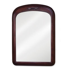 "Hardware Resources - Lyn Design MIR031 Wood Mirror - 21"" X 30"" Merlot mirror with floral onlay and beveled glass"