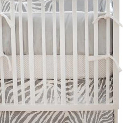 "New Arrivals Inc. - Safari in Gray Baby Crib Bedding Set 2-Piece - Classic and chic, the Safari in Gray baby bedding by New Arrivals Inc. is fun for a boy or girl! The bumper is made of Soft Gray Solid Twill with Birdseye Pique cording and white grosgrain ribbon ties. The bumper is slip covered for easy cleaning. The crib Sheet is made from Petite Dots in Gray fabric. The 17"" tailored skirt is made of Safari in Gray."
