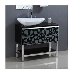 """Legion Furniture - 35.5 in. Solid Wood Vanity Cabinet in Black - Faucet not included. Measurement tolerance: (+/- ¼""""). Pre-drilled with one hole one slot faucet. Tempered glass top. White ceramic sink. Made from wood. Assembly required. 35.4 in. W x 15.7 in. D x 34 in. H"""