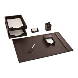 Dacasso Limited Inc - Dacasso Econo-Line Brown Leather 8-Piece Desk Set - D3603 - Shop for Desk and Drawer Organizers from Hayneedle.com! About Dacasso Limited Inc.Located in Gainesville Florida Dacasso offers quality desk sets and unbeatable customer service. Dacasso manufactures leather and wood desk accessories and their product line ranges from complete leather desk sets that perfectly present a professional look to leather calendar holders that provide organization for day-to-day responsibilities. A company that believes in its products and service Dacasso guarantees your satisfaction.