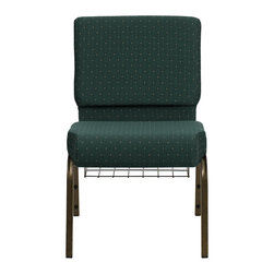"Flash Furniture - Hercules 21"" Extra Wide Hunter Green Dot Patterned Church Chair - This Hercules Series Church Chair will add elegance and class to any Church, Hotel, Banquet Room or Conference setting. If you are looking for a chair with comfort and style that is easy to move and stores away with ease, then look no further. This built to last chair has a 16-gauge steel frame that has been tested to hold 800 lbs. This church chair features double support bracing, ganging clamps, a cushion that graduates to a 5 in.  thick waterfall edge and plastic floor glides to protect non-carpeted floors. Our church chair is manufactured by one of the most reputable stack chair manufacturers in the industry, you can be assured of the quality of this chair offered to you."