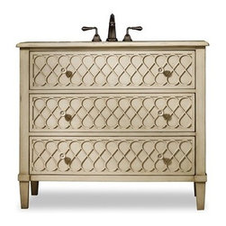 """Cole & Co. - Cole & Co. 40"""" Designer Series Collection Mallory Sink Chest - Antiqued Parchmen - Cole & Company combines great design with great flexibility, allowing you to mix and match size, finish, and style to create your own perfect bathroom vanity. The Mallory Sink Chest brings a touch of the 1950s back into your d??cor with lattice-front drawers and delicate sunflower-patterned drawer pulls. Constructed of hardwood solids and then handpainted, it features two drawers for storage.Cole & Co. has offered its famous Designer Series since 1998 and is among the most popular and well-known is the US. Featured is almost every major design and interiors magazine, each handcrafted furniture piece in the Designer Series has the back cut out by hand for plumbing and sink installation and door or drawers configured to retain usefulness and storage capabilities. Designer Series vanities come with the wooden tops as shown to replicate a fine piece of furniture much the same way fine antiques have been converted as vanities in this way for years. Each piece is thoughtfully configured for ease in plumbing installation.When purchasing Cole & Co. vanities, you will have peace of mind that you're choosing furnishings of enduring quality. Caring craftsmen pay attention to every detail such as: All drawers include wood-on-wood glides for smooth, efficient operation, and all touching drawer guide parts are waxed for smooth and quiet operation; Strength and durability are supplied by mortise and case construction reinforced with glue and metal fasteners; Solid lumber and select wood veneers are carefully chosen to permit consistent finishing as use of veneers enables more decorative looks unattainable with solid wood. Veneers, which are used only on flat surface areas such as the case tops and sides, also add weight, strength and dimensional stability; and lastly, Up to 30 finishing steps, including 13 steps of hand-sanding and accenting are used with physical distressing done by ha"""