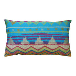 KOKO - Festive Pillow, Blue - Turquoise and red are a classic color combination that work beautifully on this pillow. The tribal design conjures up an exotic rainbow that would bring vibrant life to any living room or bedroom. Center it on a sofa or let it stand alone on a side chair and to steal the show.