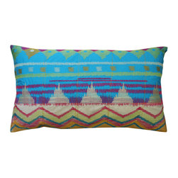 """KOKO - Java Bright Pillow, 15"""" x 27"""" - Turquoise and red are a classic color combination that work beautifully on this pillow. The tribal design conjures up an exotic rainbow that would bring vibrant life to any living room or bedroom. Center it on a sofa or let it stand alone on a side chair and to steal the show."""