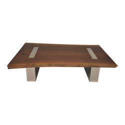 Walnut Top Coffee Table with Metal Legs - The Walnut Top Coffee Table with Metal Legs is made with a single walnut wood slab. The free edge was kept as part of the wood top design, creating an interesting contrast with the hand polished straight cut metal base. The raw look of the walnut slab, in contrast with the highly finished metal base makes the table a unique and elegant contemporary piece.