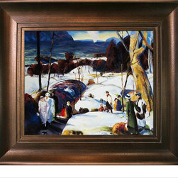 "overstockArt.com - Bellows - Easter Snow�� with Da Vinci - Aged Auburn Finish - 20"" X 24"" Oil Painting On Canvas Easter Snow Originally painted in 1915, today it has been reproduced in fine hand painted oils on canvas. This image is part of the series of paintings Bellows made, between 1907 and 1915. The landscape, Easter Snow , offers a beautiful and soulful perspective on everyday life in middle class America. The artist's use of light enhances the colors and textures delivering an earthy feel within the composition. A wonderful example of turn-of-the-century realism, this landscape portrait fits well above a fireplace or any room with plenty of light to show off its true and luminous beauty. ""...the most acclaimed American artists of his generation."" Columbus Museum of Art George Wesley Bellows (1882-1925) was an American painter who lived and produced most of his work at the start of the twentieth century. Known for bold depictions of urban life in New York City, Bellows captures American pastimes based on his love of athletics. Bellows' style mixes dark atmospheres with bright light and geometrical shapes with long brushstrokes giving his scenes a sense of perpetual, fluid motion. These hallmarks of his style allowed Bellows to depict the grittiness of American society, a popular movement amongst turn-of-the-century realist artists. Although boxing scenes are Bellows' major contribution to art history, he later cultivates a more refined style and develops his use of light and dark to characterize the griminess of urban life fueled by the political and social themes of his time. Frame Description: Tuscan Crackle Frame - Gold Finished Wood with White Crackle Accent Framed painting size (not including frame): Classic 20"" X 24"" . Framed Oil reproduction of an original painting by George Wesley Bellows"