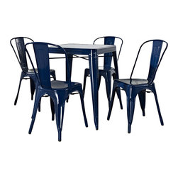Crosley Furniture - Crosley Furniture Amelia 5 Piece Metal Cafe Dining Set in Blue - Crosley Furniture - Dining Sets - KD522001BL - Originally made famous in the quaint bistros of France these midcentury replicas of original cafe seating sets will offer a dose of nostalgia combined with careful consideration for your wallet.  This inspired revival evokes a sense of a true vintage find.