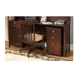 "kathy ireland Office - Grand Expressions Pedestal Desk w File Cabine - Chair not included. Desk with one box drawer for miscellaneous storage. One closed storage compartment with adjustable shelf. Can be set up on either side of work surface for right or left-handed configuration. High durability work surface. Integrated wire management features keeps work area neat and organized. File cabinet with two storage drawers and one hanging file drawer with full-extension ball-bearing glides. Mobile unit with locking casters. Protective top coat. Soft edges and rounded corners. Quick-to-Assemble technology reduces assembly time. Attractive antiqued pewter hardware. Meets American National Standards Institute (ANSI) and Underwriters Laboratories (UL) standards. High durability work surface. Warranty: Three years. Hand applied warm molasses finish. Desk: . Drawer: 12.25 in. W x 16 in. D x 2.5 in. H. Cabinet: 14.25 in. W x 21.38 in. D x 20.5 in. H. Overall: 66 in. W x 23.63 in. D x 30 in. H. File cabinet: . Storage drawer: 12.38 in. W x 16 in. D x 4.13 in. H. File drawer: 12.25 in. W x 16 in. D x 9 in. H. Overall: 15.63 in. W x 19.38 in. D x 28 in. HOur Grand Expressions Collection was born out of the rich history and cultural diversity of America. The timeless styling, functionality, ingenious safety features and New World allure of the Grand Expressions collection will bring out the best in any room.""QTA"" Quick to AssembleSafety features"