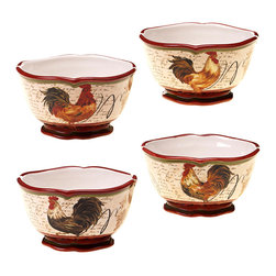 Certified International - Certified International Assorted 5.5-inch Tuscan Rooster Ice Cream Bowl (Set of - Give your abode a sense of the idyllic with this set of four ice cream bowls. Poised to entertain,these ceramic bowls are dishwasher and microwave safe.