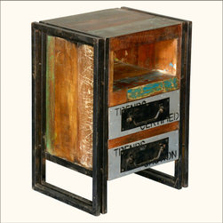 Industrial Old Wood & Iron 2 Drawer & Cubby Nightstand End Table -