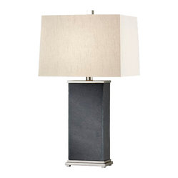 Polished Nickel / Black Slate Lamp