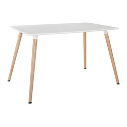 Modway - Modway EEI-1056 Field Dining Table in White - Climb the heights of inspiration to find a balanced plane for creative harmony, while firmly grounded with solid beech wood legs. Field's light design and rectangular fiberboard top form an energetic surface for success. The sky is no longer the limit, and every fete from the smallest brunch to celebratory parties will lift you beyond the ordinary.