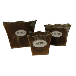 Heather Fields Home & Garden - Set of 3 Jardin Tin Planters - Set of 3 tin planters with plastic liners and the word jardin on the front. Jardin, meaning garden in french. Rustic finish. Large: 9x9x7.5h, Medium: 7.5x7.5x6H Small: 5x5x5