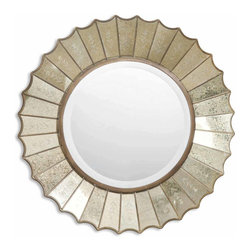 Uttermost - Amberlyn Sunburst Gold Mirror - The sun can shine every day! The weather outside might be frightful but inside this sunburst mirror delightfully brightens things up. Fluted gold-leaf mirrors make up the sunburst, each with its own etched blossom for visual impact and ready-made smiles.