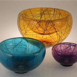 Birds' Nest Bubble Bowls - Charming and bright blown glass bowls. Shown here are combinations in Amber & Lapis, Aqua & Mint, Hyacinth & Lapis (photo 1). Other colors available include Alabaster, Citron, Cobalt, Turquoise, Cherry Red and Emerald Green see color chart (photo 2).