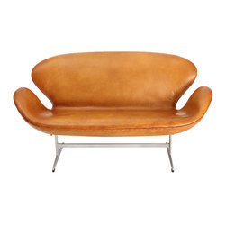 Swan Sofa by Arne Jacobsen for Fritz Hansen, 1958 - This Swan Sofa was originally designed by Arne Jacobsen for the Grand Hotel in Copenhagen, the SAS Royal Hotel in 1958. For interior decoration, Arne Jacobsen brought together horizontal and vertical lines of the building with curves and organic shapes of furniture. As the famous Egg Chair and the Swan Chair, this Swan Sofa is made of curves only without any straight line.