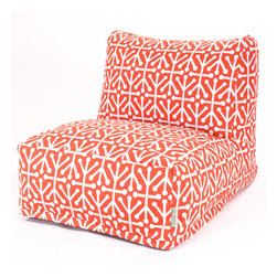 Majestic Home - Outdoor Orange Aruba Bean Bag Chair Lounger - Add style and functionality to your living room, family room or outdoor patio with the Majestic Home Goods Bean Bag Chair Lounger. This Beanbag Chair has the design of modern furniture, while still giving the comfort of a classic bean bag. Woven from outdoor treated polyester, these loungers have up to 1000 hours of U.V. protection and are able to withstand all of natures elements. The beanbag inserts are eco-friendly by using up to 50% recycled polystyrene beads, and the removable zippered slipcovers are conveniently machine-washable.