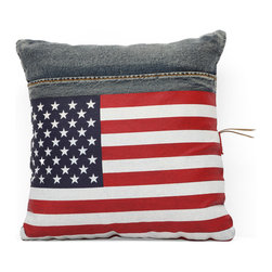 ZUO ERA - Cowboy Cushion Blue Denim w/ USA Flag - What do you get when you cross recycled denim with the U.S. flag? One heck of a great pillow! This one makes a great accent piece just about anywhere in your home. Show off your patriotic side with the stars and stripes.
