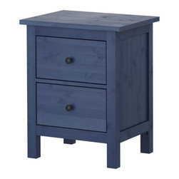 Hemnes Chest with 2 Drawers, Blue - Ikea has taken a colorful turn with this Hemnes side table. Adding a pair of these to the bedroom will add a bold pop of navy and functionality at the same time.