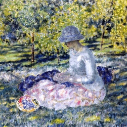"Frederick Carl Frieseke A Woman Seated in a Park with Basket   Print - 16"" x 20"" Frederick Carl Frieseke A Woman Seated in a Park with Basket premium archival print reproduced to meet museum quality standards. Our museum quality archival prints are produced using high-precision print technology for a more accurate reproduction printed on high quality, heavyweight matte presentation paper with fade-resistant, archival inks. Our progressive business model allows us to offer works of art to you at the best wholesale pricing, significantly less than art gallery prices, affordable to all. This line of artwork is produced with extra white border space (if you choose to have it framed, for your framer to work with to frame properly or utilize a larger mat and/or frame).  We present a comprehensive collection of exceptional art reproductions byFrederick Carl Frieseke."