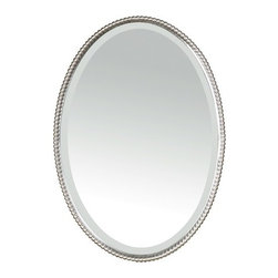 "Uttermost - Sherise Beaded Oval Mirror in Brushed Nickel - This classic oval mirror by Uttermost blends the beaded design of antique mirrors with modern sensibilies. Featuring a mirror frame made of hand forged metal with a brushed nickel finish surrounding a beveled mirror, this wall mirror works well with a wide range of decors, as bathroom mirror or as living room wall decor! Features: -Beaded oval mirror. -Sherise collection. -Designed by Carolyn Kinder. -Brushed nickel finish. -Can Be Mounted Vertically or Horizontally. -Overall dimensions: 32"" H x 22"" W x 2"" D."