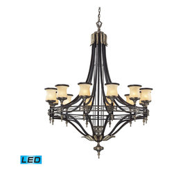 "Elk Lighting - Georgian Court LED 12-Light Chandelier in Antique Bronze and Dark Umber - During the mid-eighteenth century, the georgian style became immensely popular, not only in england, but also in colonial america. The ""colonial"" home was influenced by the georgian style, characterized by a sense of proportion, balance, and carefully thought out details. Furniture and objects of the time were of a larger scale, yet with a lighter feeling than earlier periods. This lighter feeling transmitted grace, elegance, and prominence, and allowed details to become more of the focal point, rather than the principle elements of the structure. The georgian court collection reflects those earlier influences with a well-balanced proportions, attractive brass finished details, and amber glass with a marbleized finish and decorative ring. - LED's offering up to 9,600 lumens (720 watt equivalent) with full range dimming. Includes easily replaceable LED bulbs (120V)."