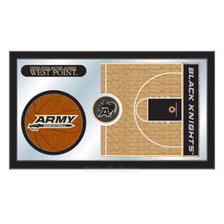 "Holland Bar Stool - Holland Bar Stool US Military Academy (ARMY) Basketball Mirror - US Military Academy (ARMY) Basketball Mirror belongs to College Collection by Holland Bar Stool The perfect way to show your school pride, our basketball Mirror displays your school's symbols with a style that fits any setting.  With it's simple but elegant design, colors burst through the 1/8"" thick glass and are highlighted by the mirrored accents.  Framed with a black, 1 1/4 wrapped wood frame with saw tooth hangers, this 15""(H) x 26""(W) mirror is ideal for your office, garage, or any room of the house.  Whether purchasing as a gift for a recent grad, sports superfan, or for yourself, you can take satisfaction knowing you're buying a mirror that is proudly Made in the USA by Holland Bar Stool Company, Holland, MI.   Mirror (1)"