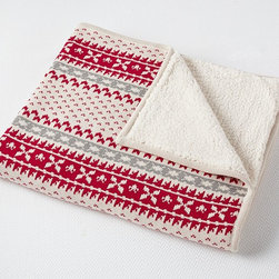Fairisle Throw - The perfect way to cuddle up this holiday, our knit throw features a classic seasonal pattern and reverses to sherpa for added comfort.
