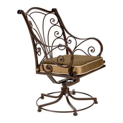 O.W. Lee - O.W. Lee Ashbury Swivel Rocker Aluminum Dining Chair - 1584-SR-SP11-GL02A - Shop for Chairs and Sofas from Hayneedle.com! The O.W. Lee Ashbury Swivel Rocker Dining Chair will make your company's head spin without hurting their necks. These eye-catching chairs will have your guests doing a double take at their stylish addition to any outdoor decor. The beautiful scrollwork offers a classic appeal that also possesses a fashion-forward individuality. This sensually curving metalwork is hand forged and hammered bringing a uniquely masterful craftsmanship to these chairs. More than just visually pleasing however these chairs are equally designed for comfort. While the rocking and swiveling capabilities of these chairs make getting into and out of them a breeze these features along with the comfortable arms and top-of-the-line foam and fiber filled seat cushion make these chairs so comfortable that your guests won't want to get up encouraging them instead to sit back and enjoy the leisurely meal that you lovingly prepared.Materials and construction: Only the highest quality materials are used in the production of O.W. Lee Company's furniture. Carbon steel galvanized steel and 6061 alloy aluminum is meticulously chosen for superior strength as well as rust and corrosion resistance. All materials are individually measured and precision cut to ensure a smooth and accurate fit. Steel and aluminum pieces are bent into perfect shapes then hand-forged with a hammer and anvil a process unchanged since blacksmiths in the middle ages. For the optimum strength of each piece a full-circumference weld is applied wherever metal components intersect. This type of weld works to eliminate the possibility of moisture making its way into tube interiors or in a crevasse. The full-circumference weld guards against rust and corrosion. Finally all welds are ground and sanded to create a seamless transition from one component to another. Each frame is blasted with tiny steel particles
