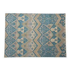 Area Rug, Ikat Uzbek Design Hand Knotted 8'X11' Sky Blue 100% Wool Rug SH7765 - Hand Knotted Ikat & Suzani Rugs are bold and usually the focal point of the room.  The design is large and is all highly in demand by designers.