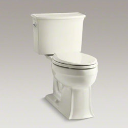 KOHLER - KOHLER Archer(R) Comfort Height(R) two-piece elongated 1.28 gpf toilet with Aqua - The Archer(R) Comfort Height Toilet combines exceptional performance and the enduring transitional style of the Archer collection. Blending subtle design elements found in Craftsman furniture and the intricate facets of fine jewelry, this combination of b