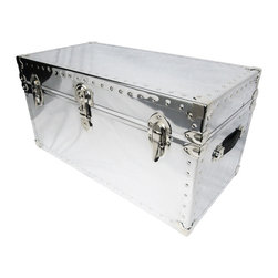 HQ Trunk. - Coffee Table - Polished Steel Chrome Metal - Finely Crafted Coffe Table Trunk style. (Chrome).