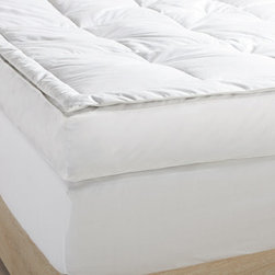 """Grandin Road - Down Pillowtop Feather Bed - Feather bed with down pillow-top. Crafted of white soft down over waterfowl feathers. 100% cotton cover. Baffled box design maximizes fill loft and minimizes shifting. Dry clean. Put the crowning touch on your dream sanctuary with our Down Pillow-top Feather Bed. Quite simply, nothing compares. White soft down blankets a bed of feathers, creating a full 5"""" of luxurious comfort for creating the ultimate sleep experience out of nearly any bed. Intelligently engineered, baffled box design keeps the fill lofty and evenly distributed.  .  .  .  .  . Imported."""