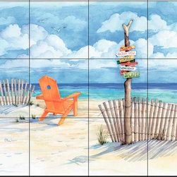 The Tile Mural Store (USA) - Tile Mural - Beach Signs - Oceanview - Kitchen Backsplash Ideas - This beautiful artwork by Paul Brent has been digitally reproduced for tiles and depicts the beach signs-oceanview painting.  Beach scene tile murals are great as part of your kitchen backsplash tile project or your tub and shower surround bathroom tile project. Waterview images on tiles such as tiles with beach scenes and sunset scenes on tiles.  Tropical tile scenes add a unique element to your tiling project and are a great kitchen backsplash  or bathroom idea. Use one or two of our beach scene tile murals for a wall tile project in any room in your home for your wall tile project.