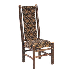 Fireside Lodge Furniture - Hickory Upholstered High Back Log Side Chair - Fabric: StickleyHickory Collection. All Hickory Logs are bark on and kiln dried to a specific moisture content. Clear coat catalyzed lacquer finish for extra durability. 2-Year limited warranty. 20 in. W x 23 in. D x 47 in. H (45 lbs.)