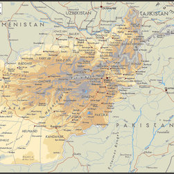Murals Your Way - Afghanistan Wall Art - A map by EGLLC Maps, the Afghanistan wall mural from Murals Your Way will add a distinctive touch to any room