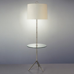 Jonathan Adler Meurice Table Floor Lamp in Floor Lamps - This floor lamp has the fun base of a tripod lamp combined with a convenient glass shelf for cocktail hour. It takes up much less space than the usual side table/table lamp combo, and has a lot more panache.