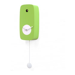 Progetti - 4stagioni Green Wall Clock - The cuckoo 4stagioni, elegant and discreet, with its four variants pays tribute to their seasons: the green brings to mind the spring, yellow take us, however, in hot summer season; time goes and we are in autumn with orange, and finally the light blue that brings us into the winter season. Made in wood. Battery quartz movement. The Cuckoo strike is switched off automatically during the night controlled by a light sensor.