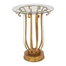 Captivating Metal Glass Accent Table - Description: