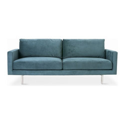 Bloor Sofa - Gus* - Bloor Sofa.The Bloor Sofa combines a classic two-over-two design with refined details like a truss-style stainless steel base and elevated footprint. The base features exposed external supports on the back, which make the Bloor a striking design from every angle. Feather blend cushions and slender arms maximize comfort and lounge space. Made with 100% FSC-Certified wood, in support of responsible forest management.