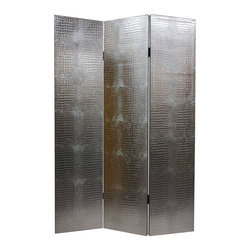 Oriental Unlimted - Faux Leather Silver Crocodile Room Divider - A sophisticated way to create privacy or add architectural interest, this faux leather crocodile patterned room divider will easily bring a bit of exotic spirit to your home's decor. Constructed of kiln dried wood, the screen has three panels and folds for easy transport. Sturdy, rigid wood frames well crafted from hardy, kiln dried Spruce, covered top to bottom, front and back and on the edges, with attractive faux crocodile skin. Strong, ultra durable fiber reinforced vinyl fabric, with remarkable reproductions of the surface of animal skin, full saturation dyes for rich, beautiful color. Entirely opaque, no light or air can pass through the double layer of vinyl. Offering complete privacy if used as a dressing screen, very tough and durable, yet light and portable. Great for dividing space, providing privacy, hiding unsightly areas or equipment, background for plants or sculptures or defining a cozy space. 15.75 in. W x 70.88 in. H (each panel)This lovely silver faux crocodile screen is a stunner. You'll love the warmth, substance, and undeniable, if surprising elegance 1 can add to any room in your home, even though, of course it's faux skin! Interesting urban art, timeless and modern, works well with many styles of interior design, and effective durable, portable, practical, room dividers.