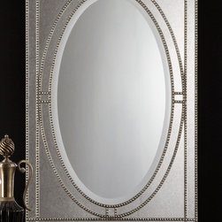 "Earnestine Mirror - Heavily antiqued silver champagne finish over beaded framework with a dark gray glaze and antiqued side mirrors. Center mirror has a generous 1 1/4"" bevel. May be hung either horizontal or vertical."